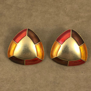 Edgar Berebi Jewelry - Vintage Edgar Berebi Domed Triangle Post Earrings